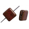 Glass Bead Squares 8mm Opaque Red Marble - Strung